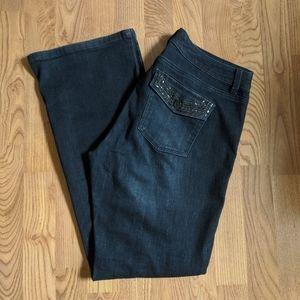WHBM Blanc 10S Boot Leg Jeans w/ Black Bear Bling